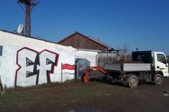 Alte Ansicht mit Graffitti Schmierereien